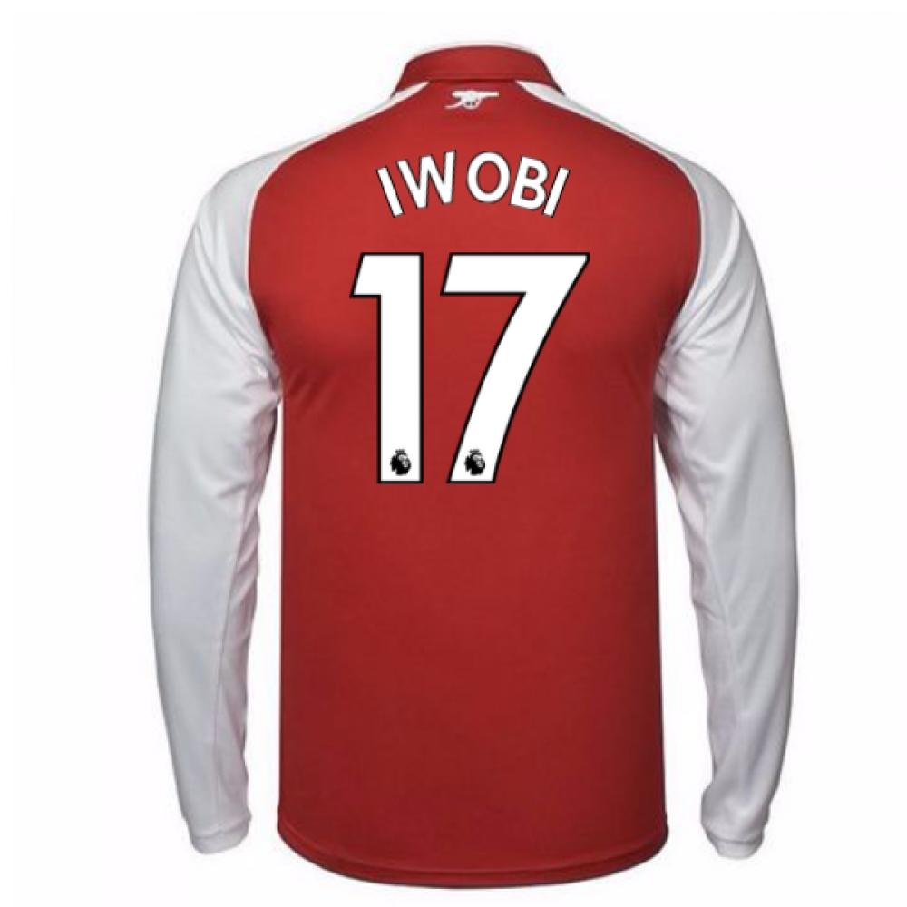 2017-18 Arsenal Home Long Sleeve Shirt - Kids (Iwobi 17)