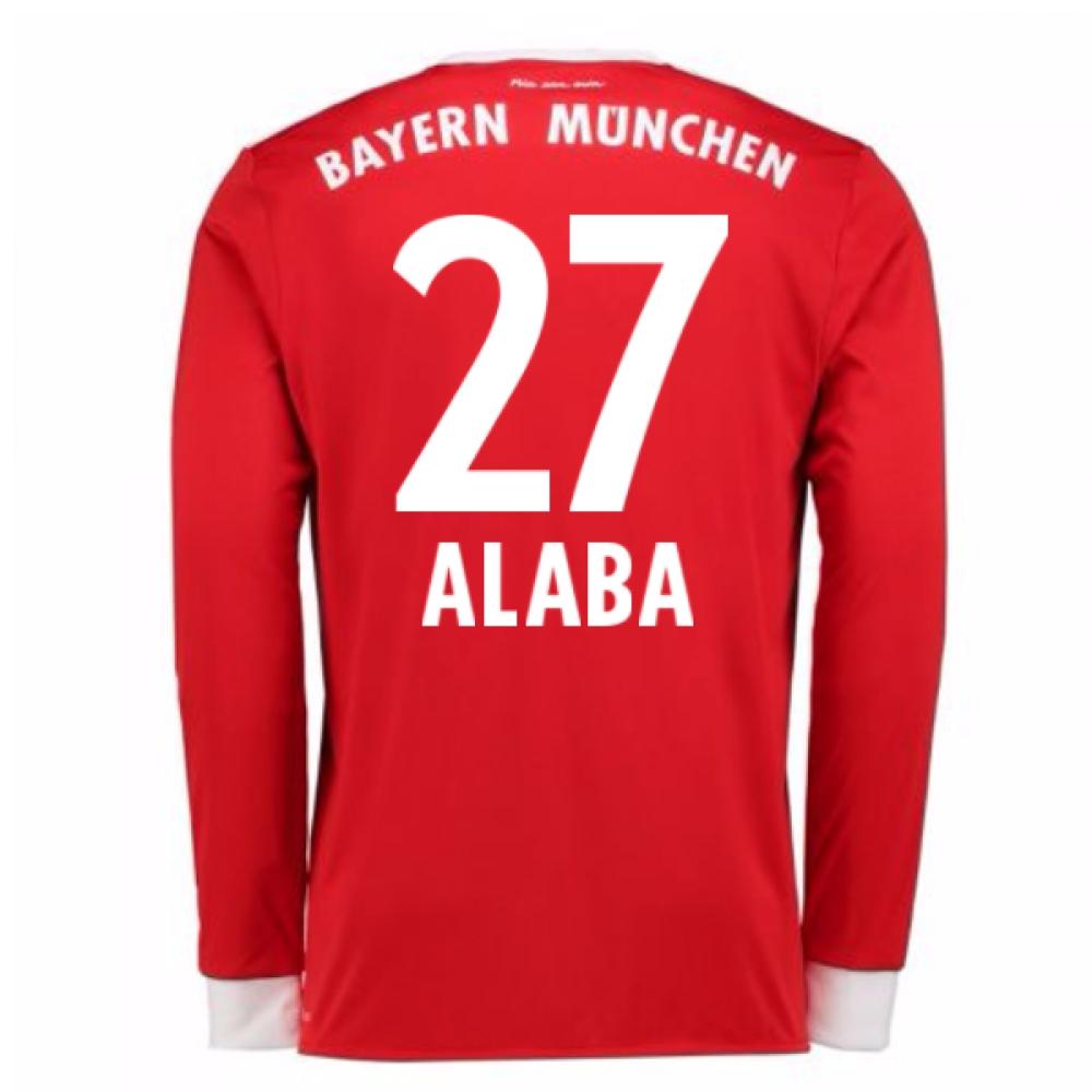 2017-18 Bayern Munich Home Long Sleeve Shirt (Alaba 27)