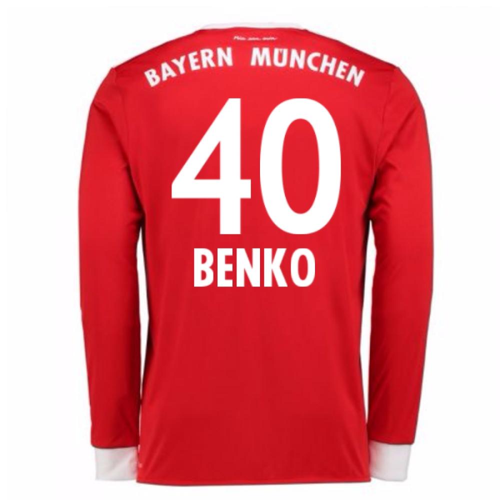 2017-18 Bayern Munich Home Long Sleeve Shirt (Benko 40)