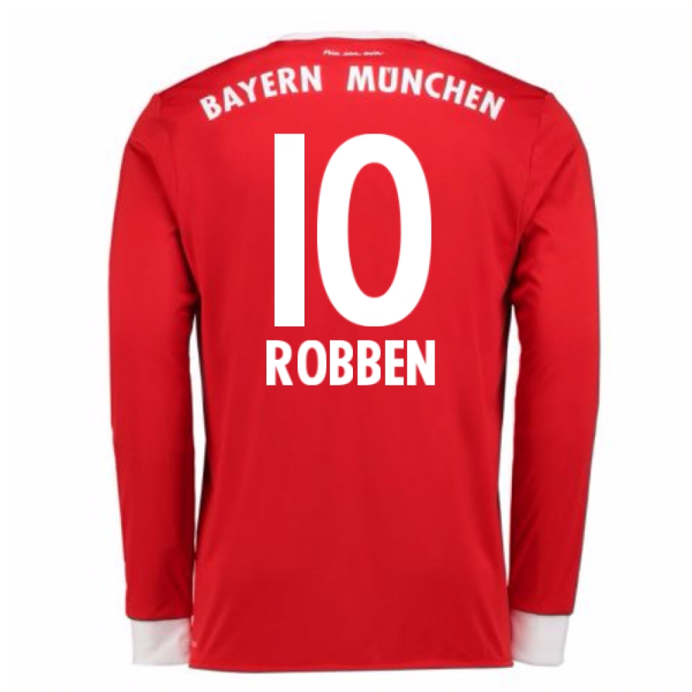 2017-18 Bayern Munich Home Long Sleeve Shirt (Kids) (Robben 10)