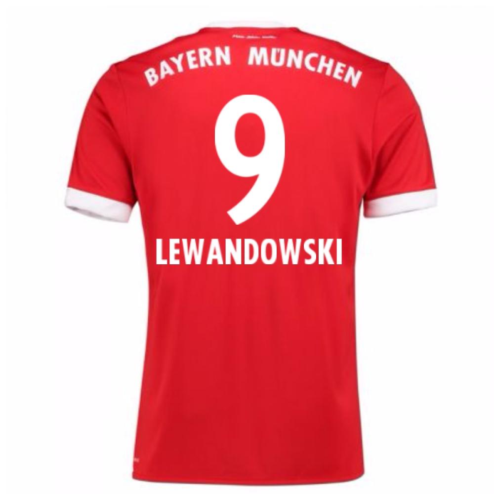 2017-18 Bayern Munich Home Short Sleeve Shirt (Lewandowski 9)
