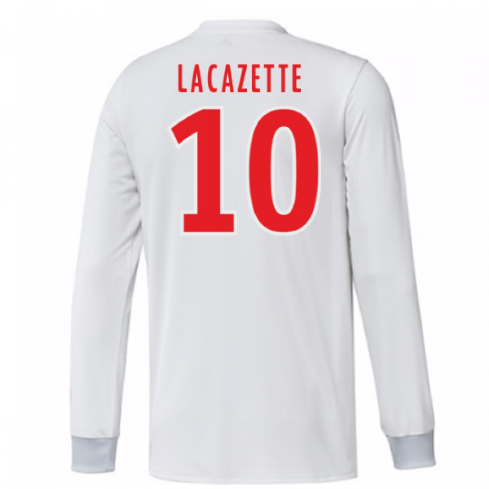 2017-18 Olympique Lyon Adidas Long Sleeve Home Shirt (Lacazette 10)