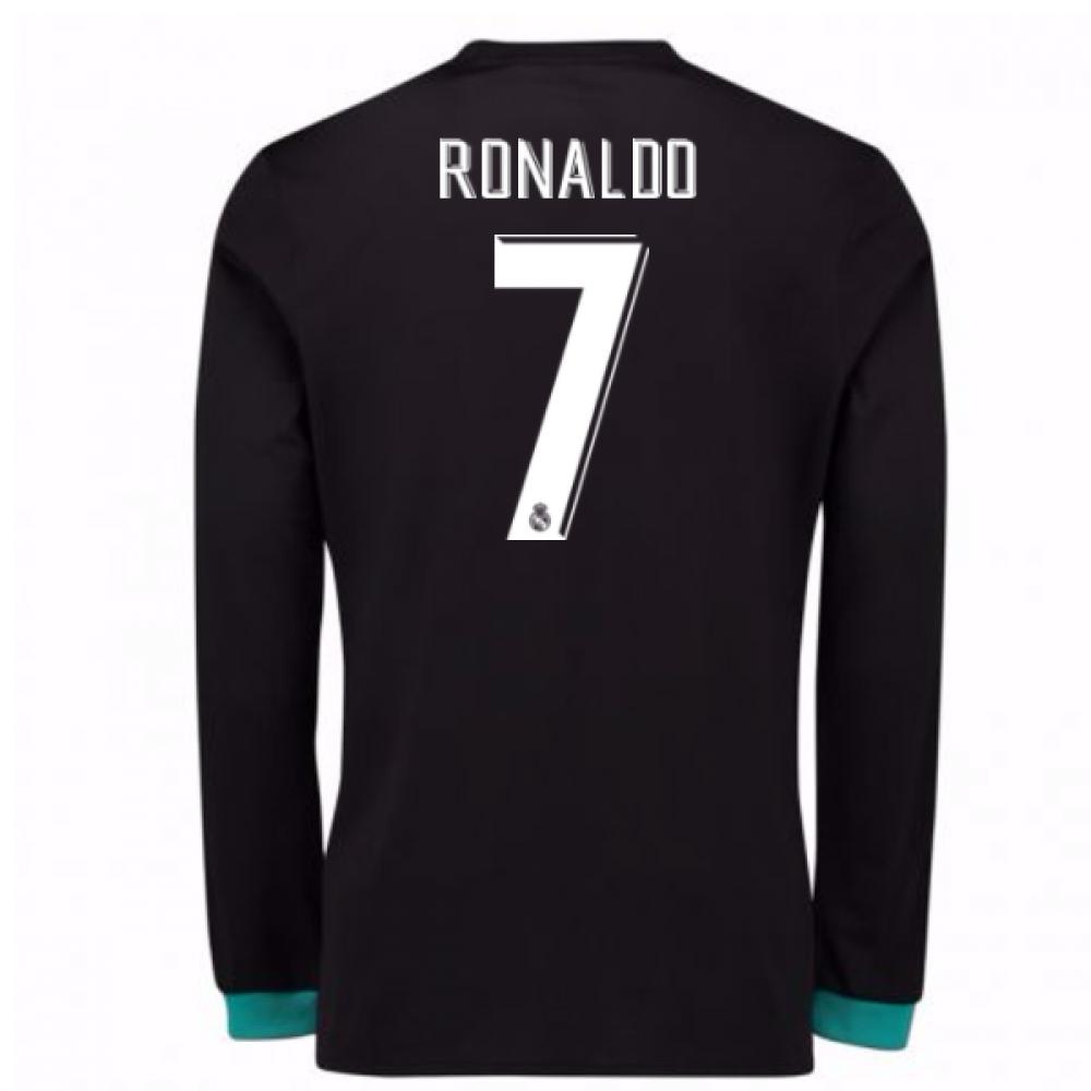 2017-18 Real Madrid Away Long Sleeve Shirt - Kids (Ronaldo 7)