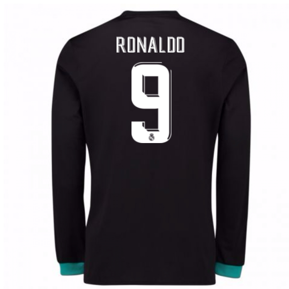 2017-18 Real Madrid Away Long Sleeve Shirt - Kids (Ronaldo 9)
