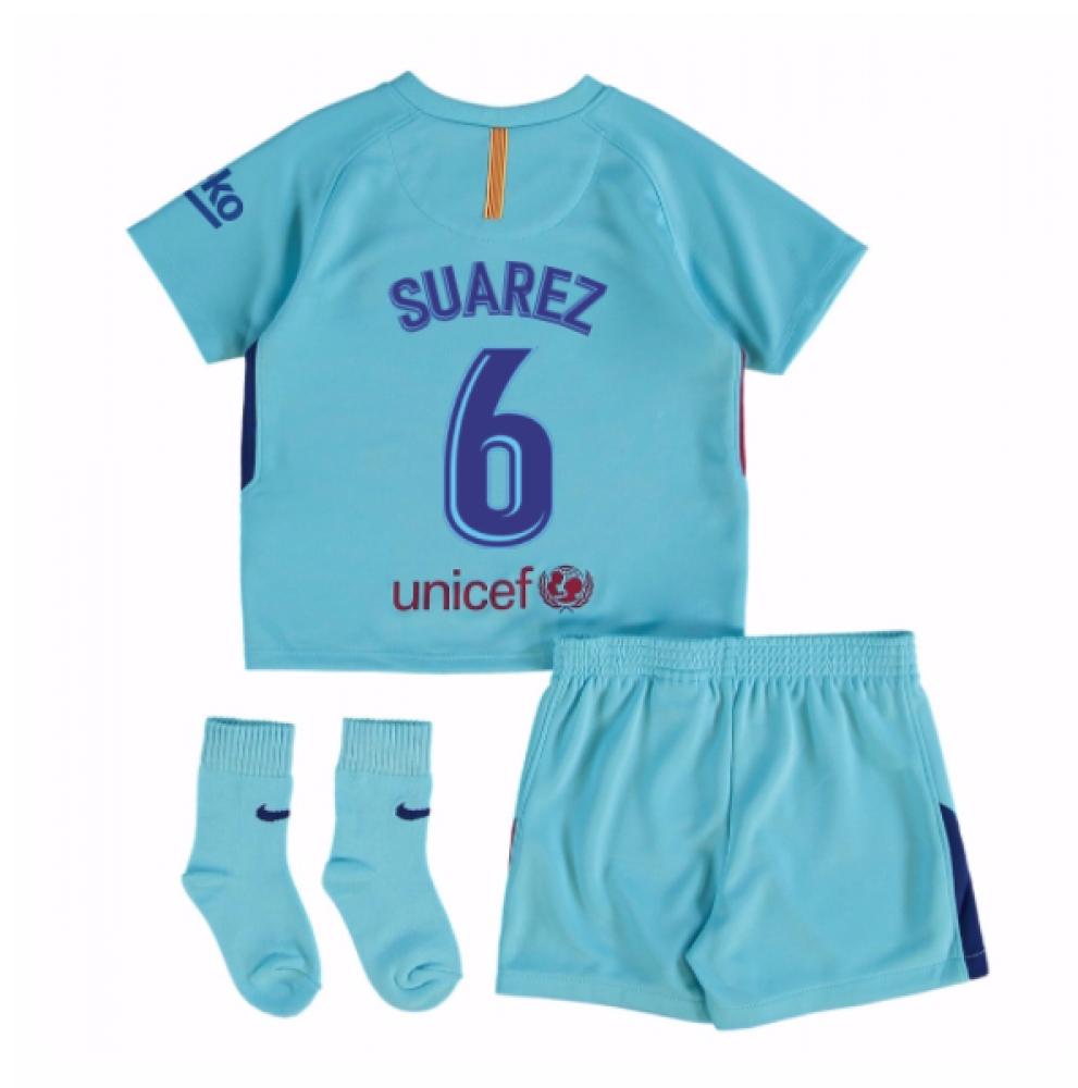2017-2018 Barcelona Away Baby Kit (Suarez 6)