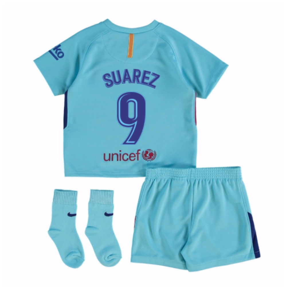 2017-2018 Barcelona Away Baby Kit (Suarez 9)
