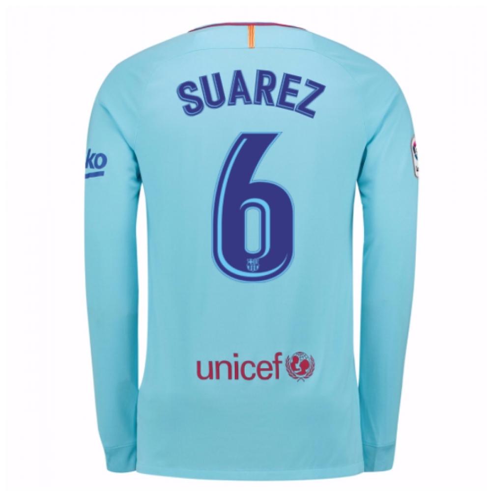 2017-2018 Barcelona Away Long Sleeve Shirt (Suarez 6)