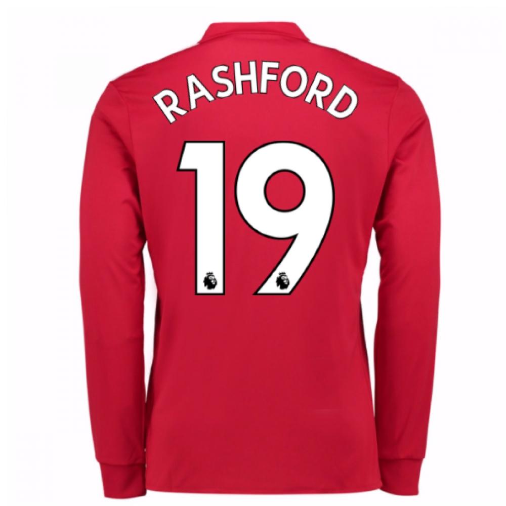 2017-2018 Man United Long Sleeve Home Shirt (Rashford 19)