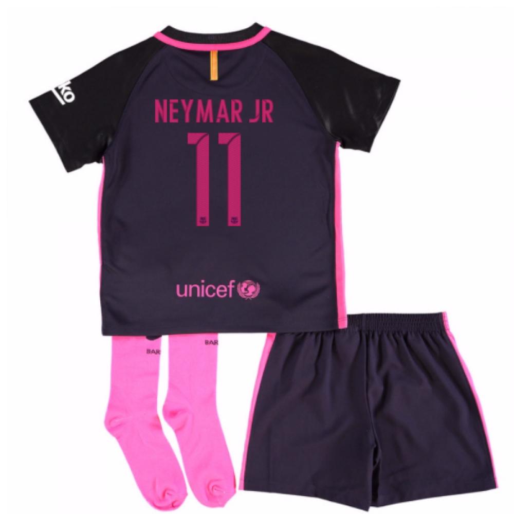 2016-17 Barcelona Away Little Boys Mini Kit (With Sponsor) (Neymar JR 11)