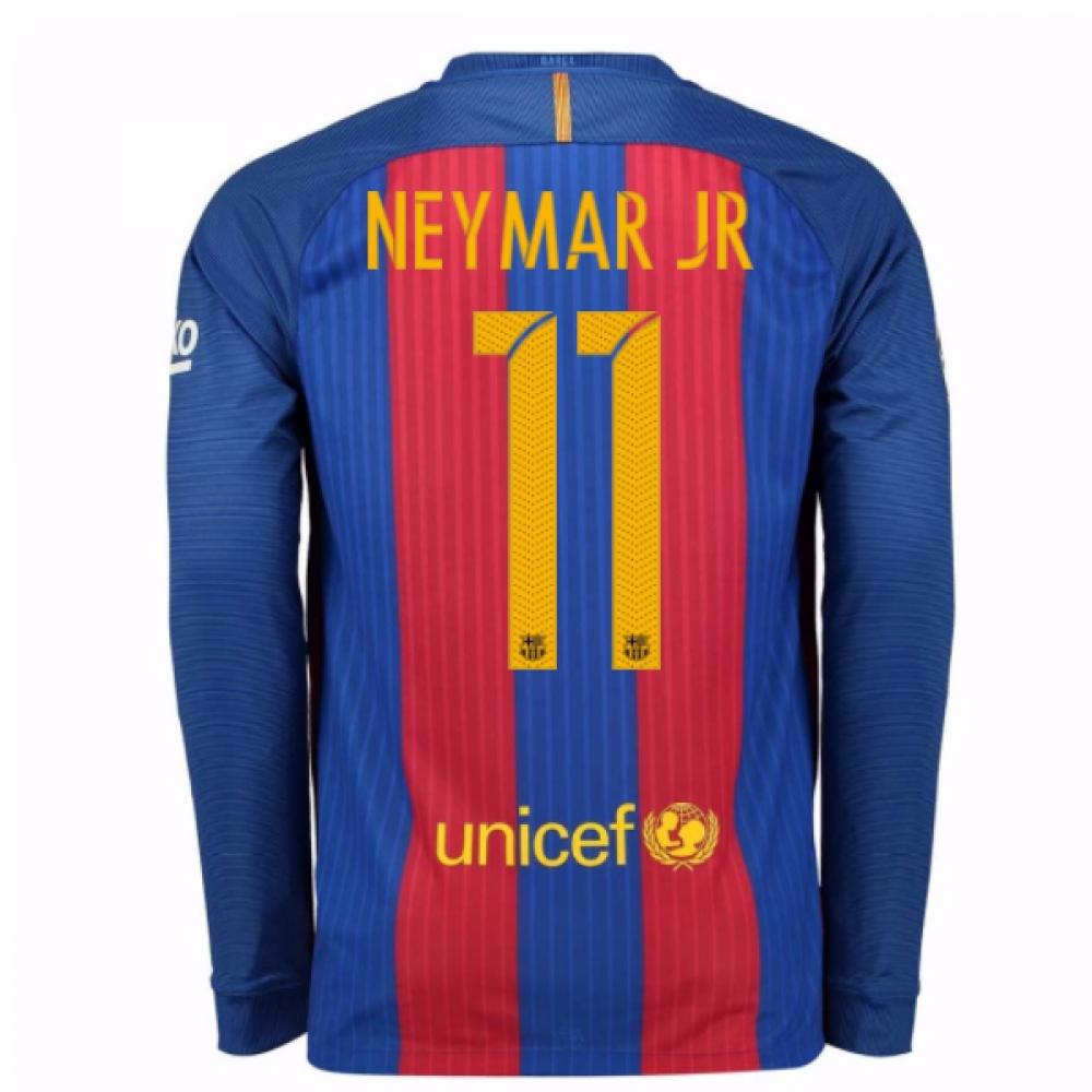 2016-17 Barcelona Home Long Sleeve Shirt (Neymar JR 11)