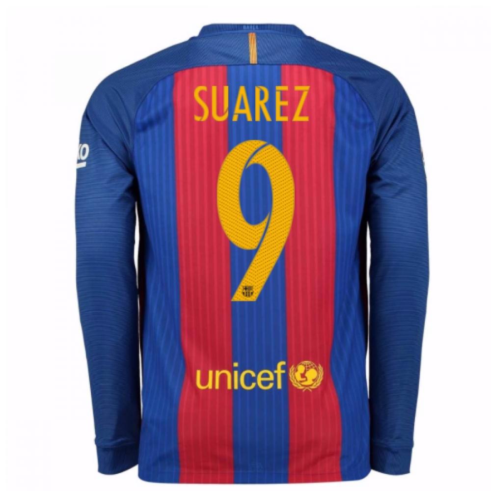 2016-17 Barcelona Home Long Sleeve Shirt (Suarez 9)