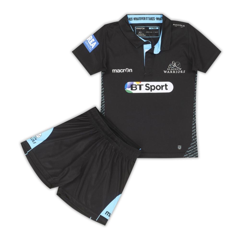 2016-2017 Glasgow Warriors Macron Home Rugby Mini Kit