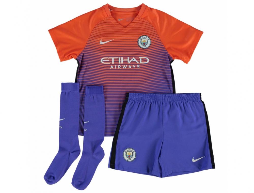 2016-2017 Man City Third Nike Little Boys Mini Kit