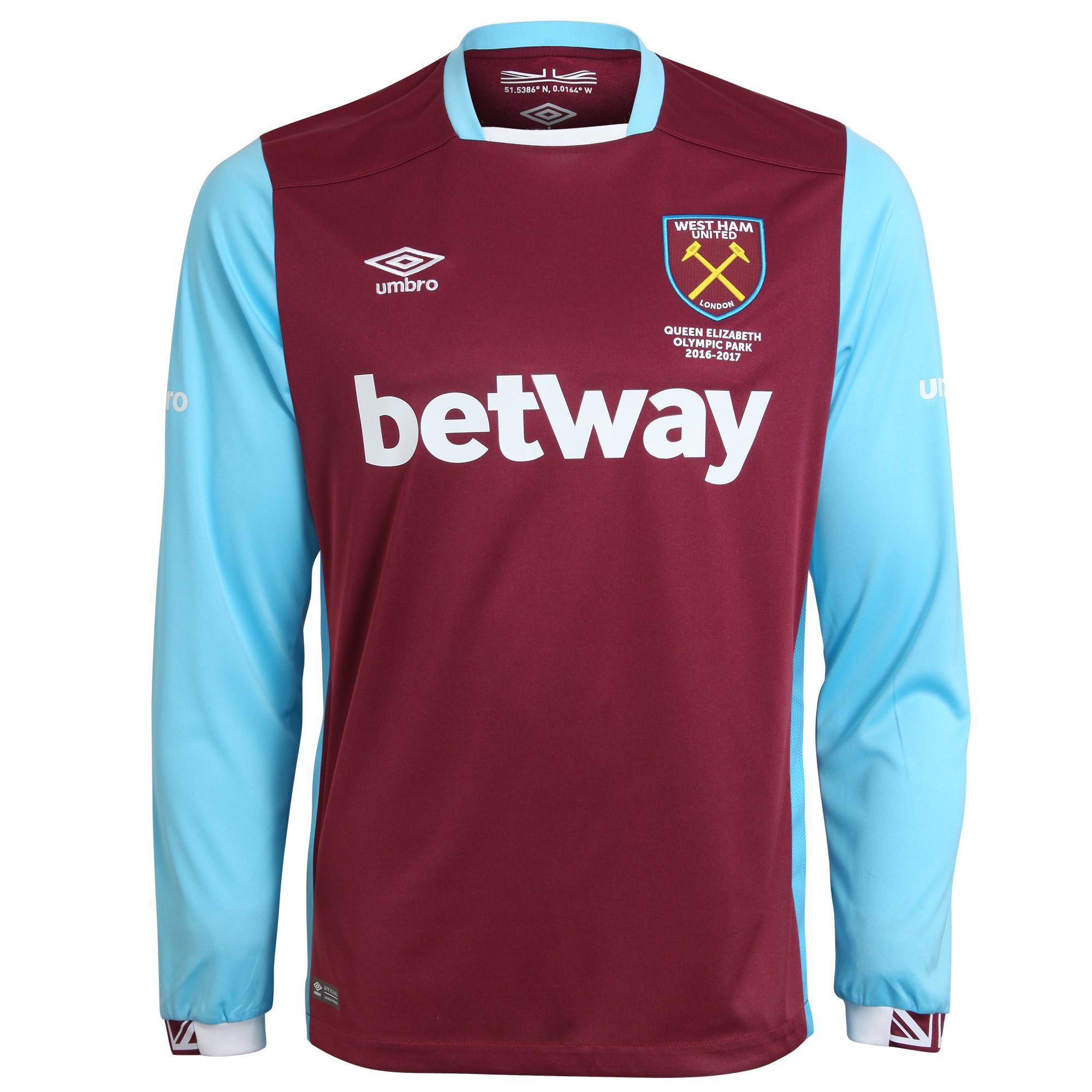 2016-2017 West Ham Home Long Sleeve Football Shirt