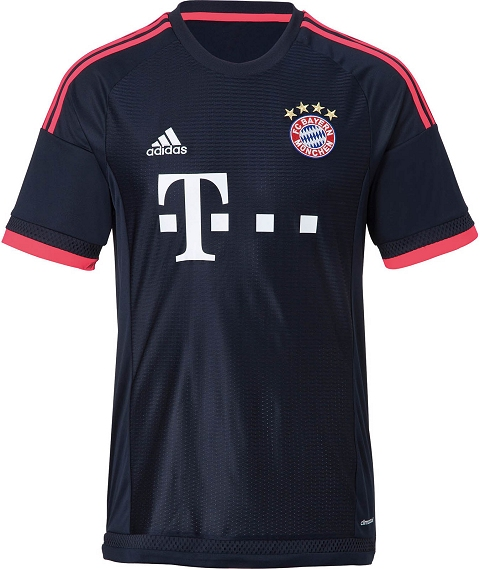 ... of the new Bayern 2015-16 Third Shirt is a unique graphic pattern  featuring differently sized lines. The jersey has a simple crew neck collar and  white ... 3109ee871