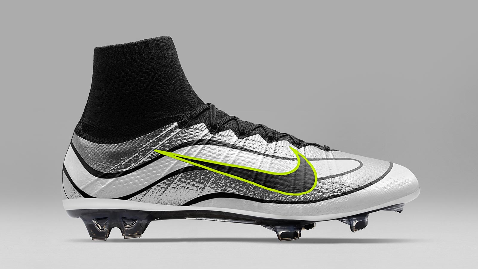 Silver Nike Mercurial Superfly Heritage with Volt swoosh