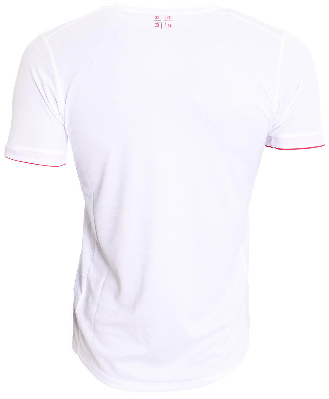 f8f9dfce125 The shirt is a simple white design. There is no coloured trim beyond the  red edging of the cuffs and a red panel in the v-neck collar.