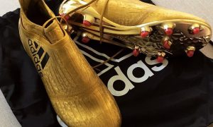 finest selection c2928 f560a Amazing Custom Gold Adidas X PureChaos Boots!