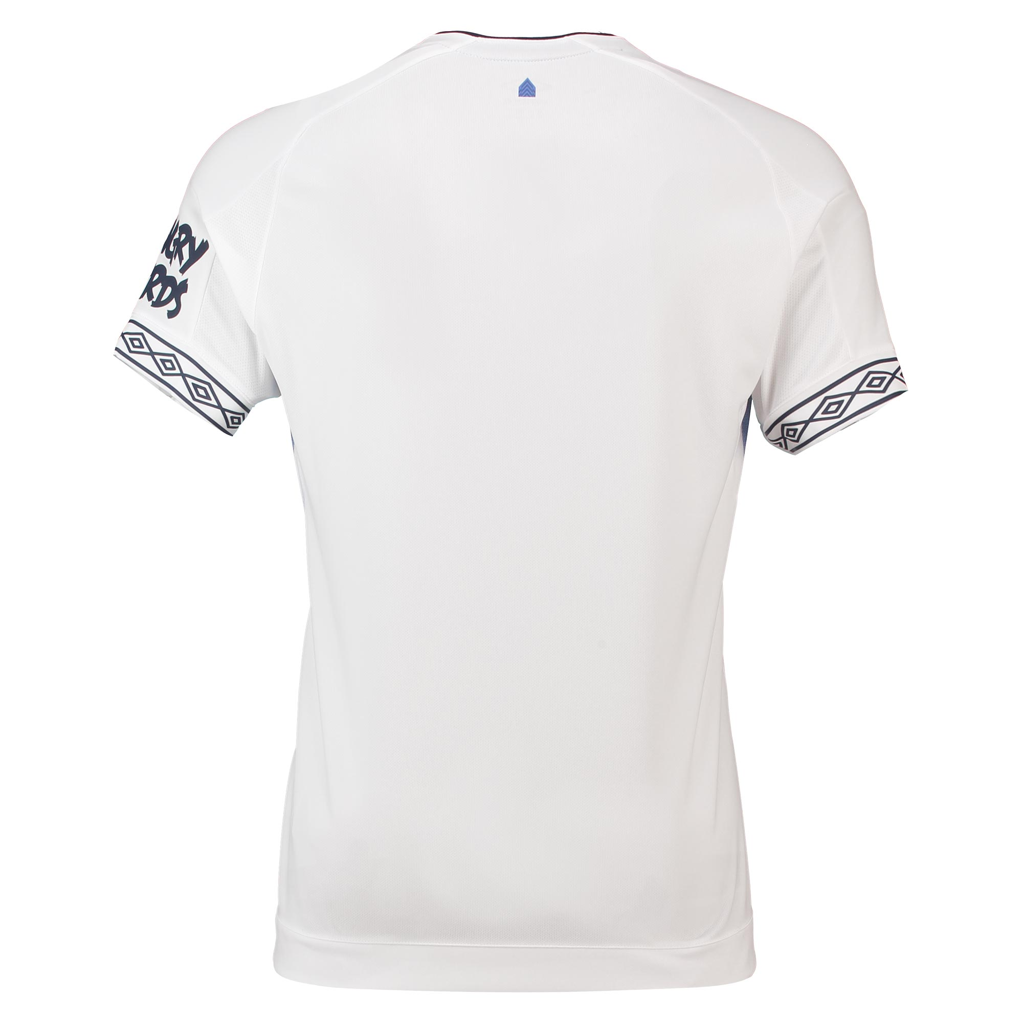 de6d026d642 The front of the aforementioned white kit top has a blue pattern. The  pattern contains different shades of the colouring and creates an  effective, ...