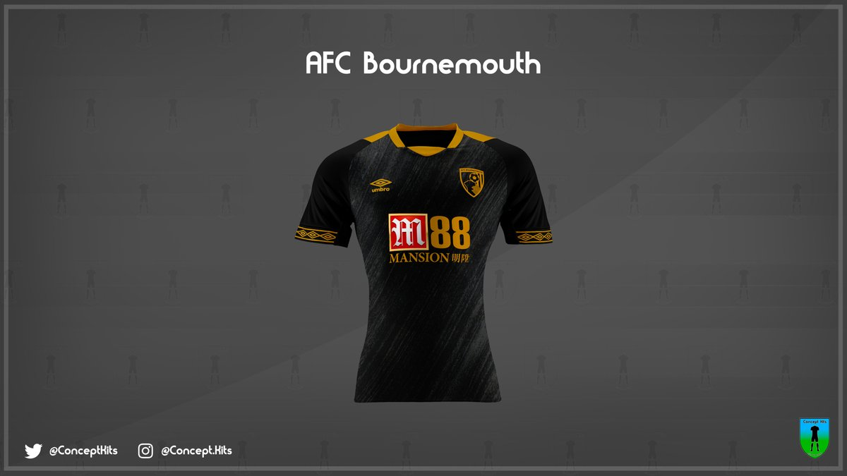 f69e13abce2 AFC Bournemouth s third concept kit is charcoal. It has a number of light  grey lines running diagonally and this is the perfect blank canvas for the  club s ...