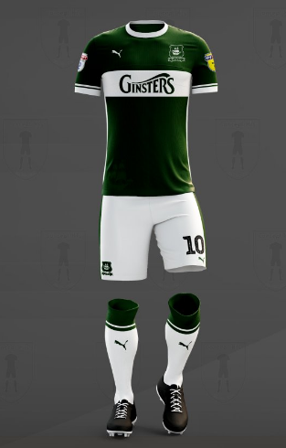 ef5a7e6ba The away kit is bright yellow. Sliding up from the bottom corner is a  curved green section. Puma s logo