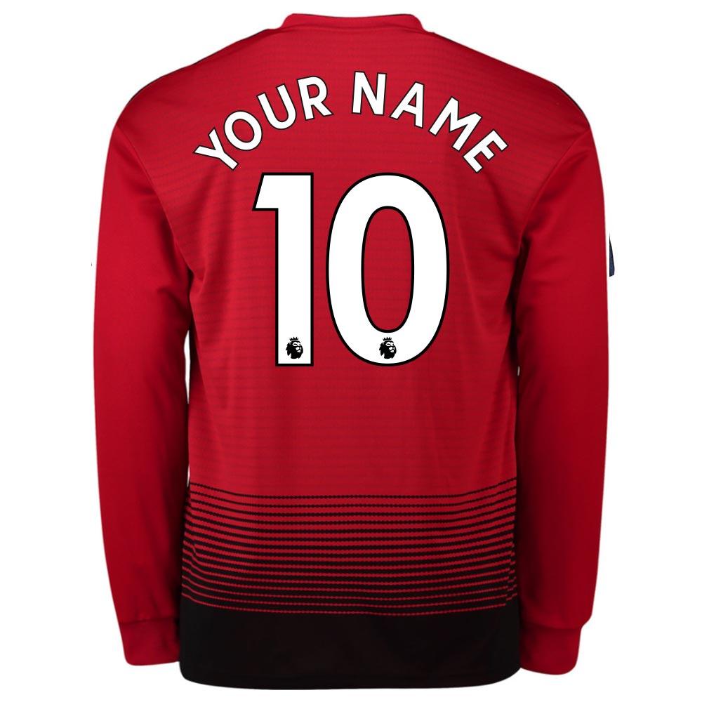 2018-2019 Man Utd Adidas Home Long Sleeve Shirt (Your Name)