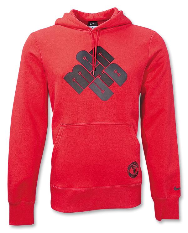 201011 Man Utd Nike Hooded Sweat Top (Red)