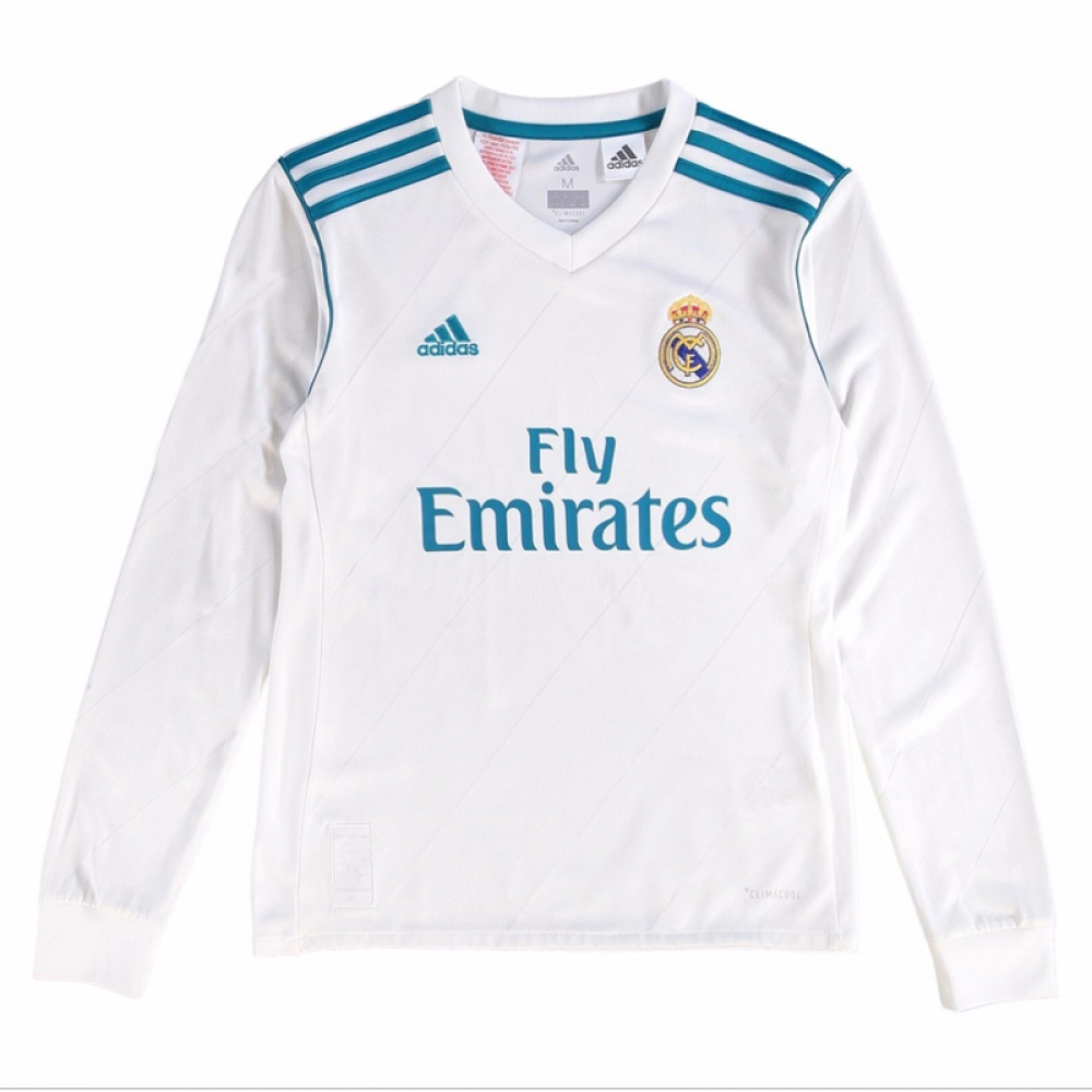 c0a425da2 2017-2018 Real Madrid Adidas Home Long Sleeve Shirt (Kids)  B31112  -  Uksoccershop