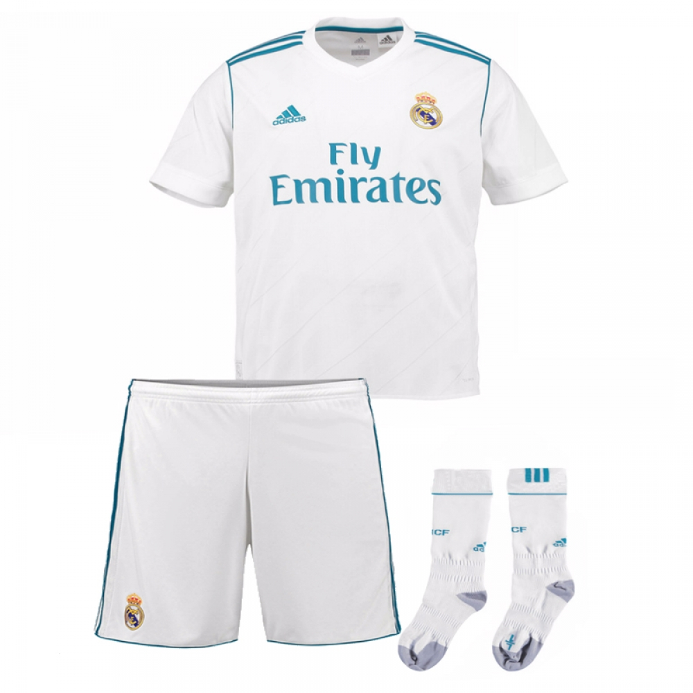 online retailer afb93 a4ca9 2017-2018 Real Madrid Adidas Home Full Kit (Kids)