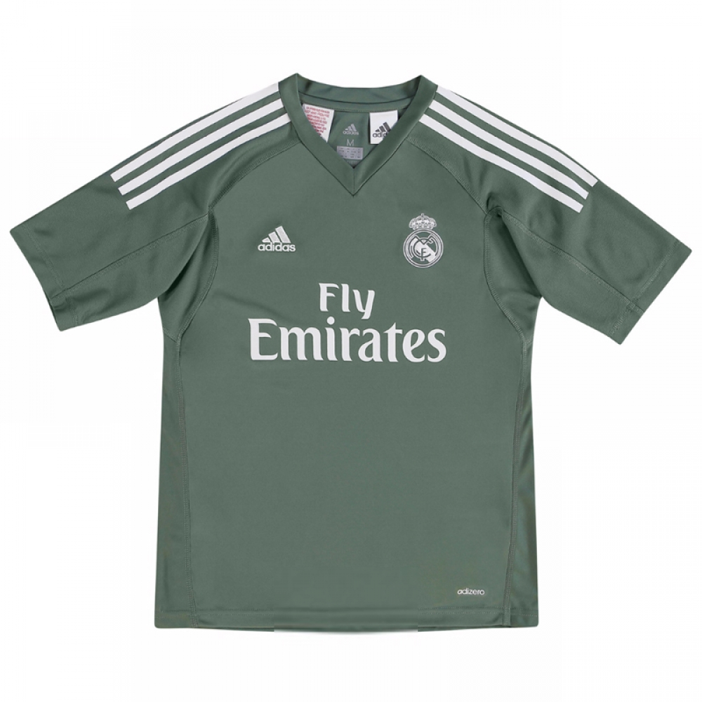 size 40 b2432 cb136 2017-2018 Real Madrid Adidas Home Goalkeeper Shirt (Kids)