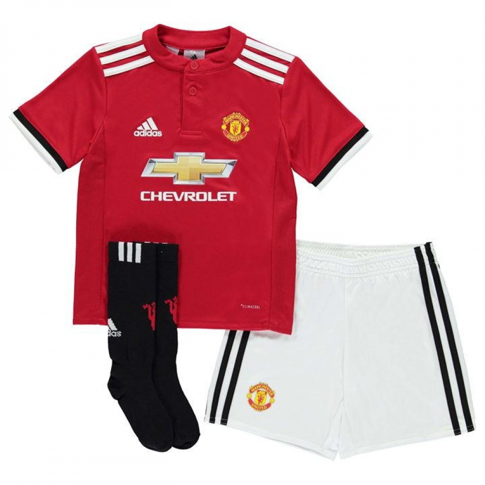 f3fd365c0ec 2017-2018 Man Utd Adidas Home Little Boys Mini Kit  AZ7578  - Uksoccershop