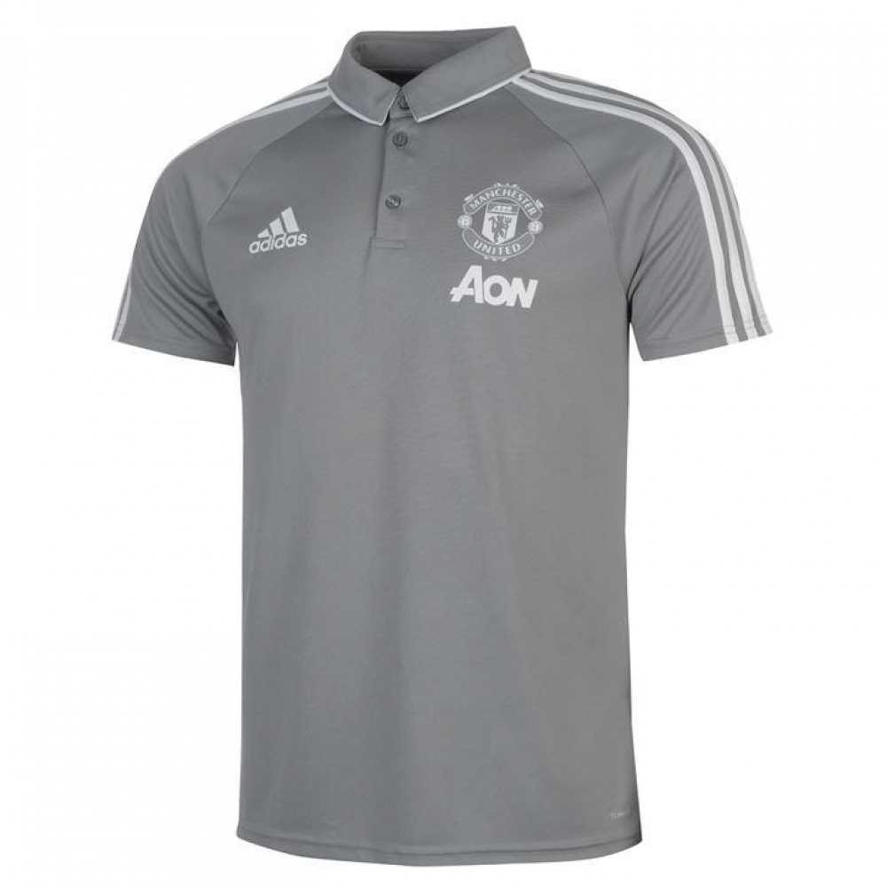 cheap for discount 664f3 5bd21 2017-2018 Man Utd Adidas Training Polo Shirt (Grey)