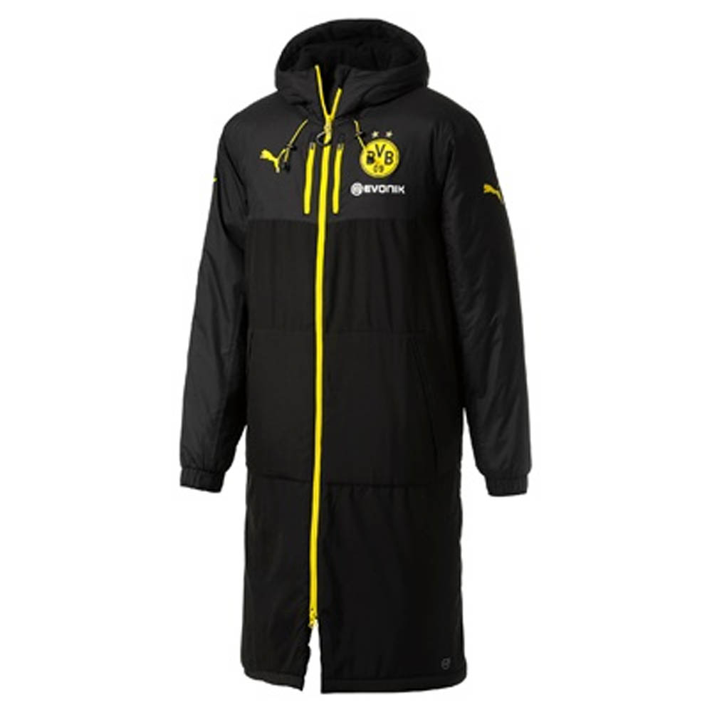 2017-2018 Borussia Dortmund Puma Long Bench Jacket (Black)
