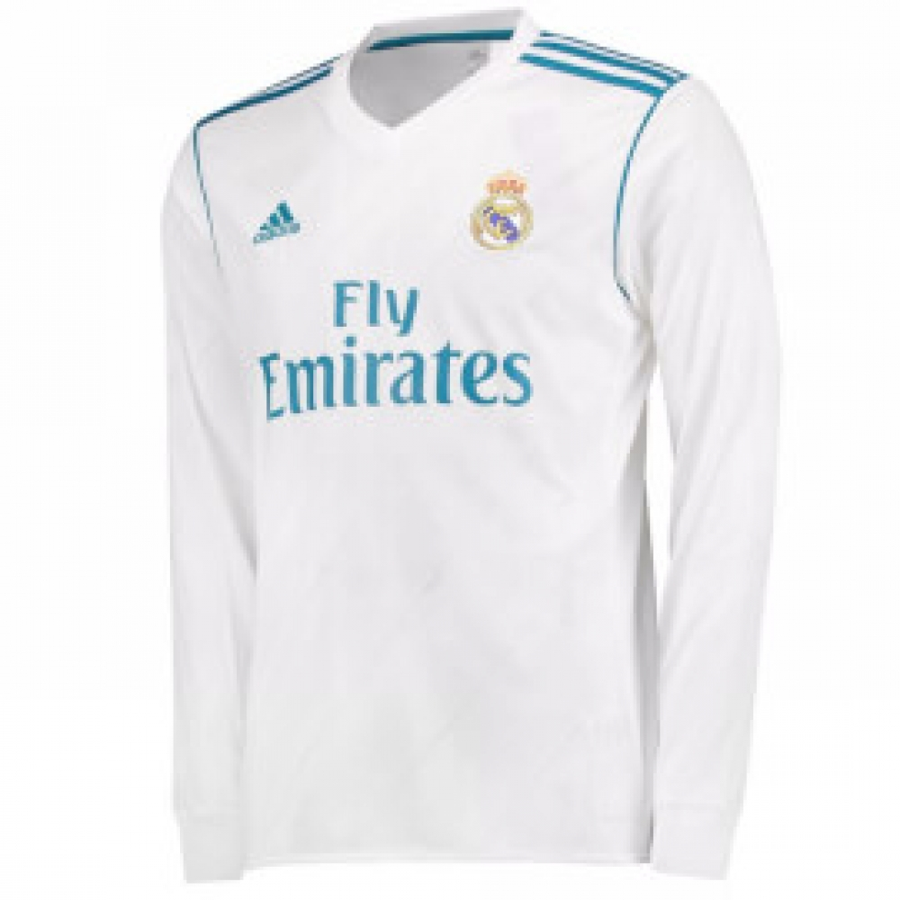 on sale abb5a 82d0d 2017-2018 Real Madrid Adidas Home Long Sleeve Shirt