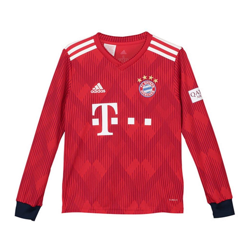 best cheap cb44c c50f9 2018-2019 Bayern Munich Adidas Home Long Sleeve Shirt (Kids)