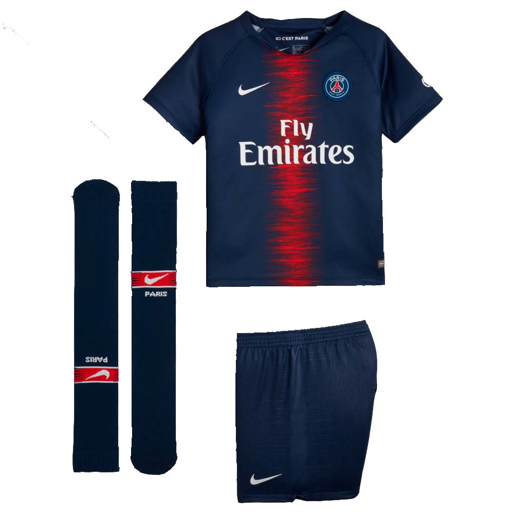 76b063462d2a0f 2018-2019 PSG Home Nike Little Boys Mini Kit  894481-411  - Uksoccershop