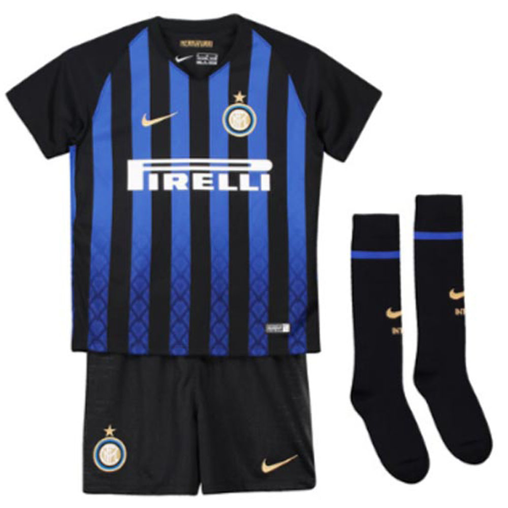 half off 3cc89 64a38 2018-2019 Inter Milan Home Nike Little Boys Mini Kit