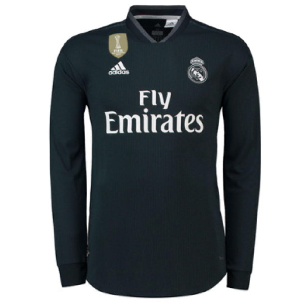 2018-2019 Real Madrid Adidas Authentic Away Long Sleeve Shirt
