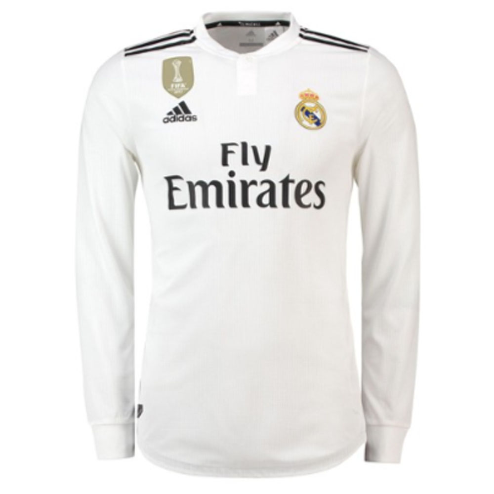 buy popular 90915 b068b 2018-2019 Real Madrid Adidas Authentic Home Long Sleeve Shirt