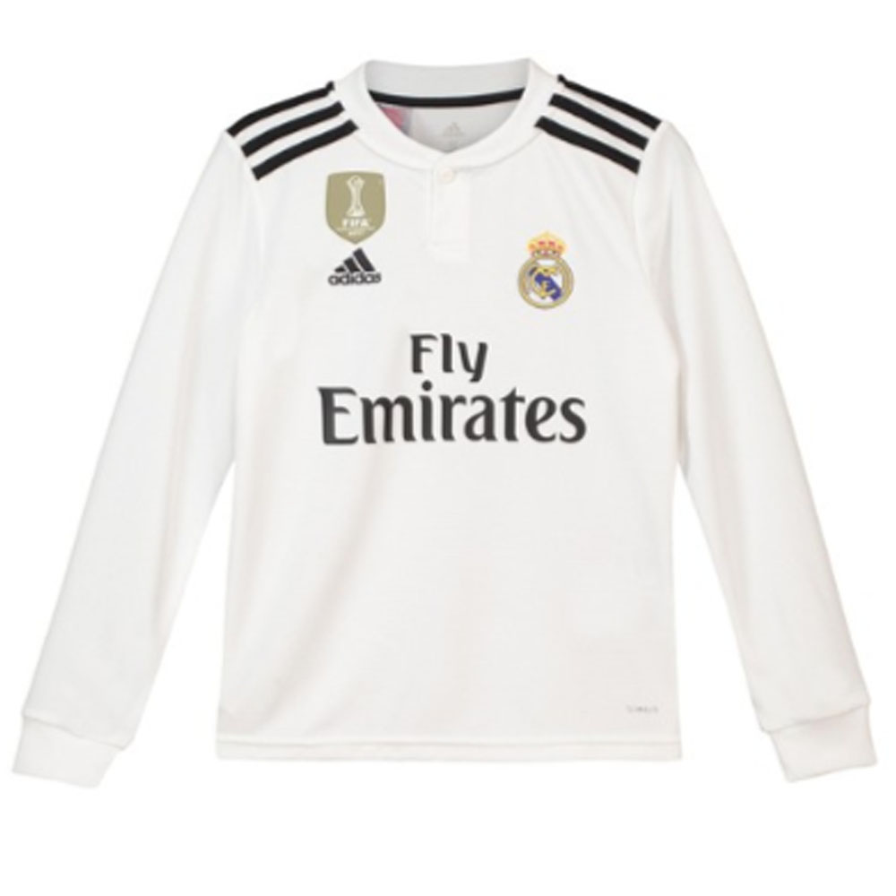 best service 59ee7 07c94 2018-2019 Real Madrid Adidas Home Long Sleeve Shirt (Kids)