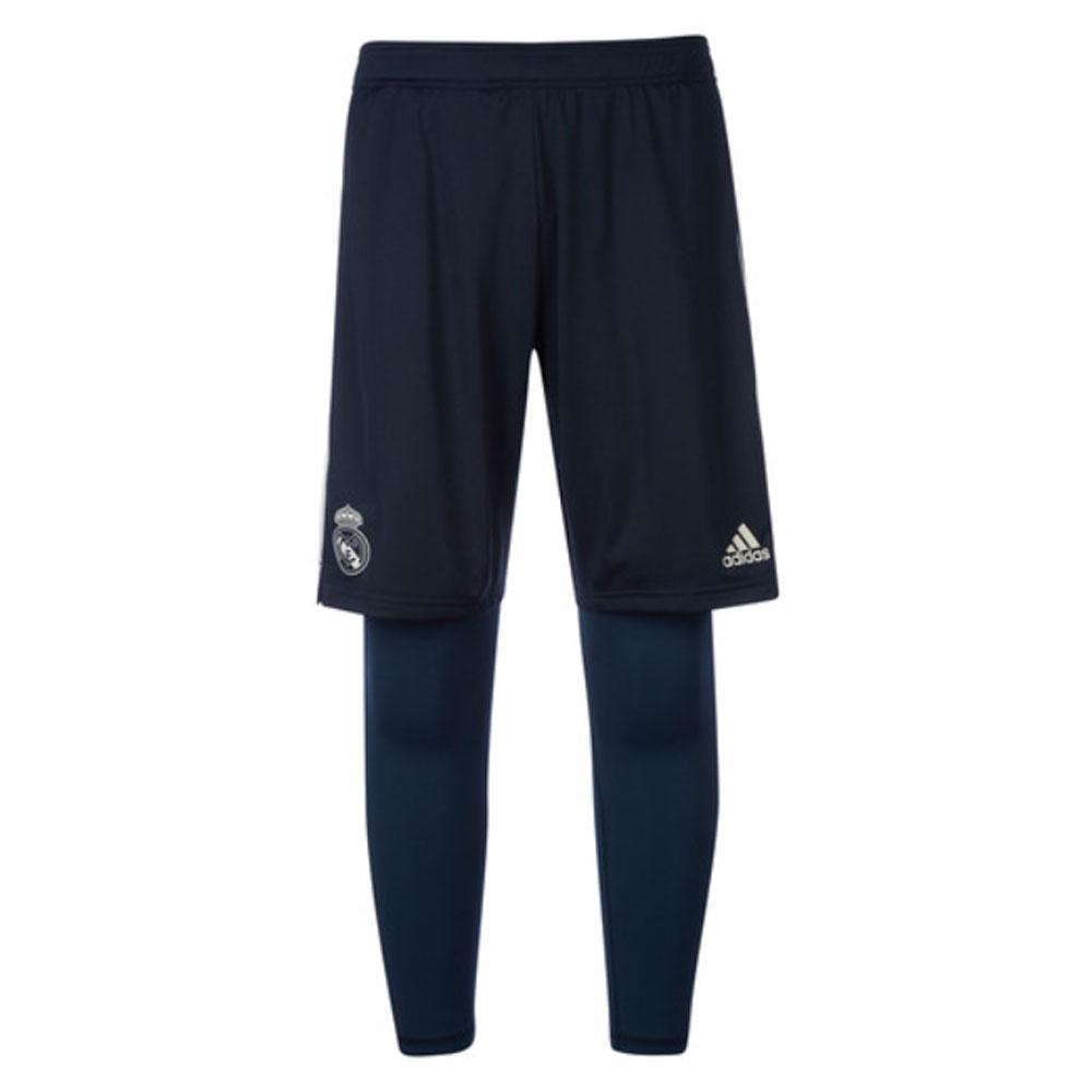 2018-2019 Real Madrid Adidas Training 2 in 1 Shorts (Dark Grey)