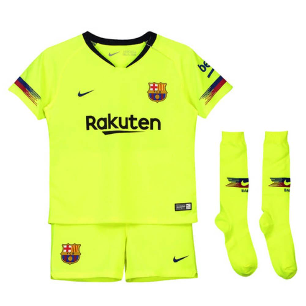 online store 8f9e4 8f064 2018-2019 Barcelona Away Nike Little Boys Mini Kit