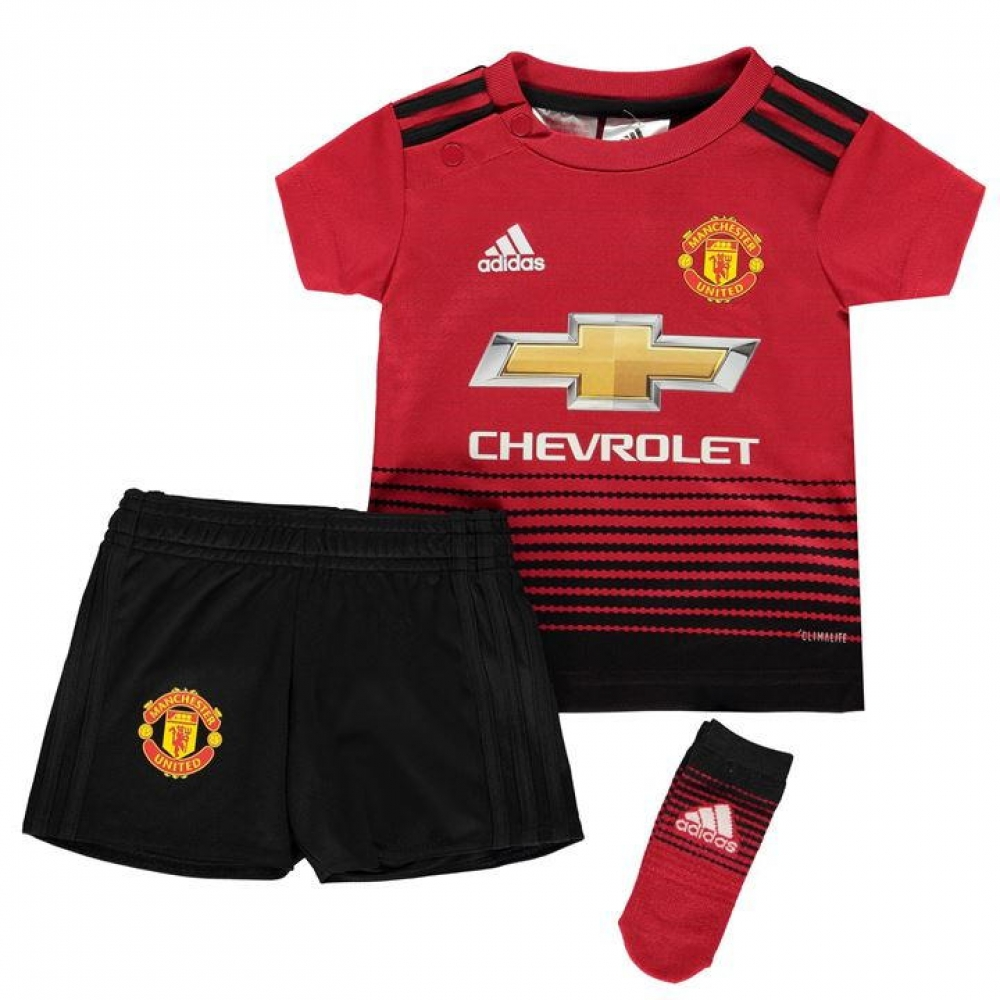 official photos fcbb2 f7345 2018-2019 Man Utd Adidas Home Baby Kit