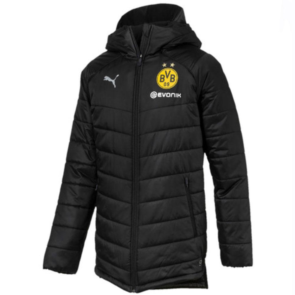 2018-2019 Borussia Dortmund Puma Long Bench Jacket (Black)