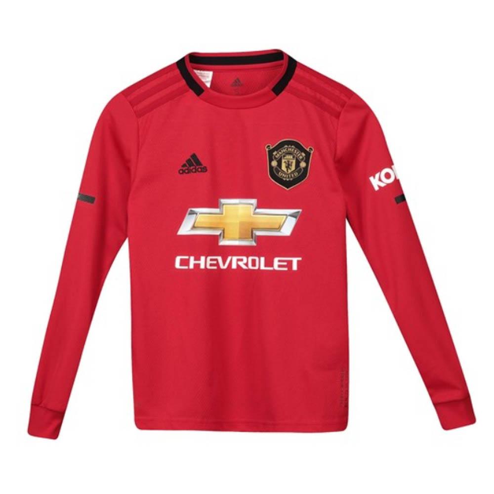 2019-2020 Man Utd Adidas Home Long Sleeve Shirt (Kids)