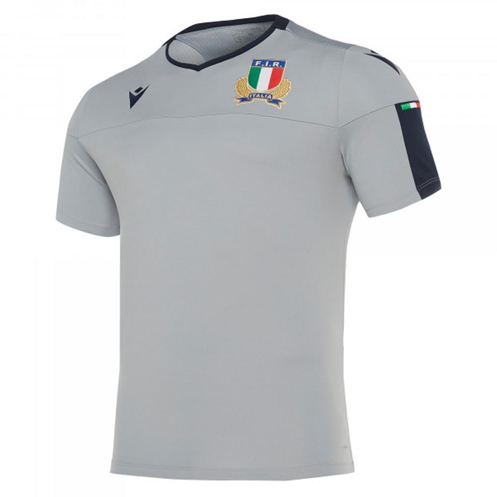 2019 2020 Italy Macron Rugby Players Training Shirt Grey 58100114 Uksoccershop