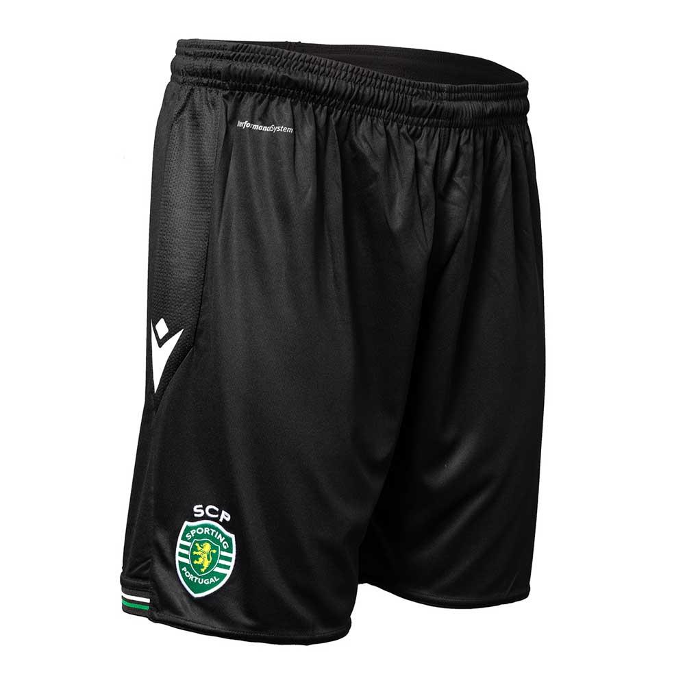 2020-2021 Sporting Lisbon Macron Home Shorts (Black)
