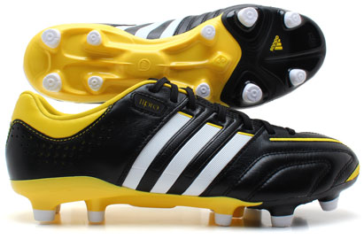 adiPure 11 Pro MiCoach Bundle Pack TRX FG Football Boots BlackRunning WhiteVivid Yellow