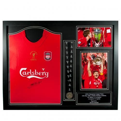 Liverpool F.C. Gerrard Signed Shirt Istanbul (Framed)