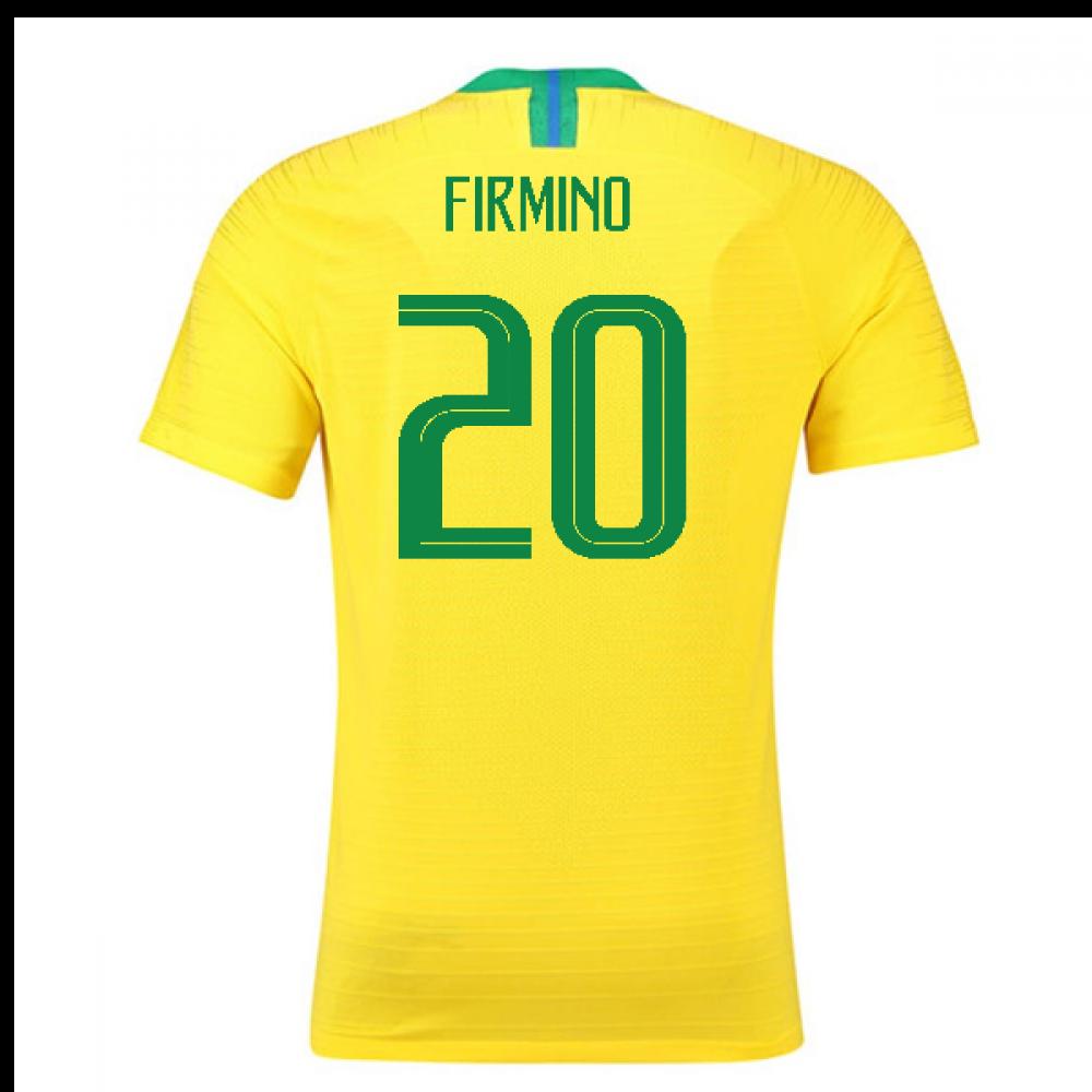 2018-2019 Brazil Home Nike Vapor Match Shirt (Firmino 20)